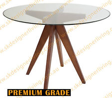 SKDL Replica Jean Prouve Inspired Round Table - Glass & Walnut - 100D