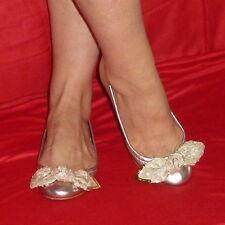 $660 Louis Vuitton Metalic Leather Sequin Bow Amulet Ballerina Flats 36 5.5