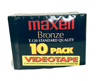 Maxell T-120 Bronze 10 Pack Blank Video Cassettes VHS Tapes NEW Sealed 6 Hour EP