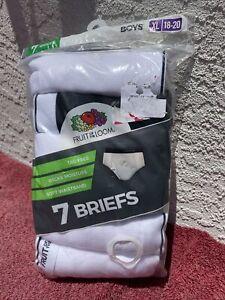 Fruit of the Loom 7 Pair Briefs Boys Underwear White Gray Black Size 18-20 XL