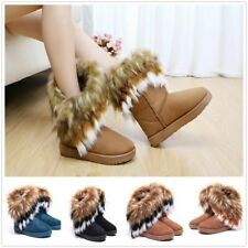 Fashion Women's Fluffy Fur Boot Winter Warm Ankle Snow Boots Suede Shoes Outdoor