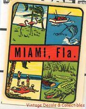 VINTAGE MIAMI FLORIDA 4 SCENE FLAMINGO ALLIGATOR SOUVENIR TRAVEL DECAL IMPKO MIP