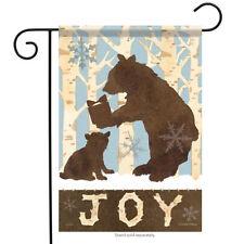 "Woodland Bears Winter Garden Flag Wildlife Cub Joy Holiday Double Sided 13""x18"""