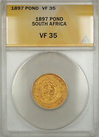 1897 South Africa Pond Gold Coin ANACS VF-35