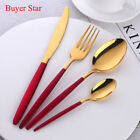16PCS Red Gold Flatware Set Stainless Steel Cutlery Set Dinner Knife Fork Spoon