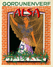 Original Vintage Fabric Dye Poster Alsa Lace c1930 Belgian Belgium Curtain