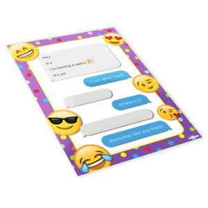20x Childrens Kids Birthday Party Invitations Invites Pack Blank - Emojis