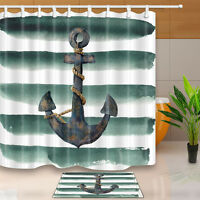 Rustic Nautical Anchor waterproof Shower Curtain Bathroom Fabric & 12 Hooks 71""