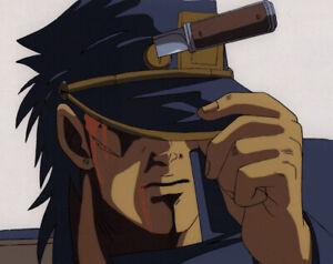 Jojo's Bizarre Adventure Anime Cel Douga Animation Art Jotaro Knife on Head 1993