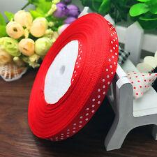 "NEW DIY 10 50 Yards 3/8"" 10MM Width Ribbon lot print dots satin Fashion Craft"
