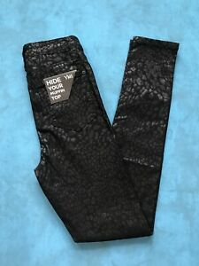 Ymi Hide Your Muffin Top High Rise Skinny Leopard  Black Jeans Size M Stretchy