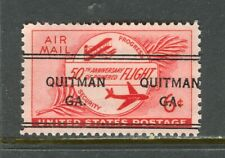 Quitman GA 243 DLE precancel on 6 cent 1953 50th Annv Airmail, Scott C47