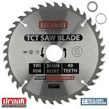 Draak 190mm x 30mm Bore 40 Tooth TCT Circular WOOD Saw BLADE Makita Bosch