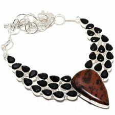 """Mahogany Obsidian, Black Onyx Gemstone Silver Jewelry Necklace 18"""" SMQ-1346"""