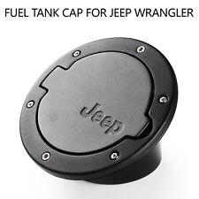 New Black Stainless Steel Fuel Gas Cap Door Cover For 2007-2015 Jeep Wrangler