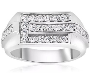 Sparkling White Round Cut 1.30CT Cubic Zirconia In Real 925 Silver Men's Ring