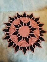 "Vintage Handmade Crochet Doily Peach Black 20"" Round Mid Century Modern  C"