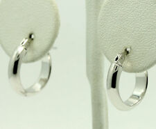14k White Gold Polished 3.9mm Wide Band Hoop Earrings