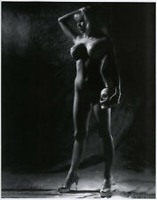 Blonde w Skull Pin Up Lithograph Dramatic Lighting Hand Signed by Bunny Yeager