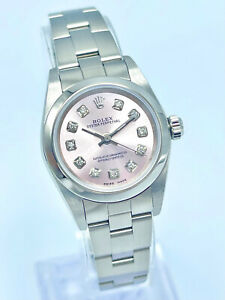 Ladies Rolex Oyster Perpetual 76080 24mm Pink Diamond Watch Oyster Bracelet