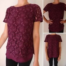 Purple Top Size 12 LONG TALL SALLY LTS Short Sleeve Lace T Shirt Style Floral C