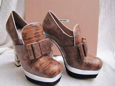 MIU MIU BY PRADA Shoes PLATEORMS HEELS SNAKE BROWN WHITE 36.5 6.5