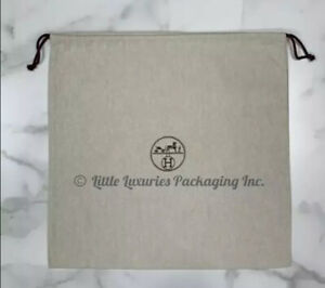 "BRAND NEW Authentic Hermes Herringbone Storage Drawstring Dust Bag 19"" x 17.5"""