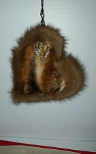 #A23 Phone Handbag Charm Keychain Real Mink & Fox Fur Heart Shaped