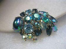 Vintage Sapphire blue & A.B. Rhinestone Brooch, Dangle Beads, 1950-1960's