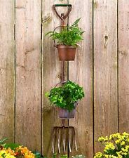 Rustic Garden Tools Planter 2 Flower Pots with Pitchfork Decor