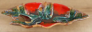 Antique Great Flat On 3 Small Foot Multicolored Red Green Effect Wash vallauris