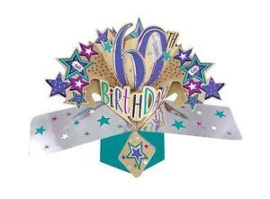 60th Age 60 Birthday Pop Up Card Female Male Mum Sister Dad Friend Husband