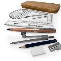 Helix Oxford Rose Gold Maths Set plus Ballpoint Pen - 8 Piece Set in Metal Gift