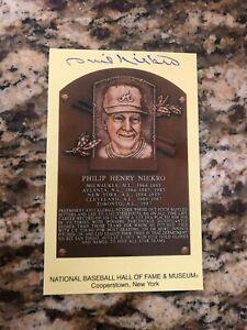 Phil Niekro Atlanta Braves signed autographed baseball card HOF plaque postcard