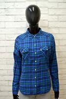 LEVI'S Donna Camicia Camicetta Taglia M Slim Maglia T-Shirt Cotone Woman Quadri