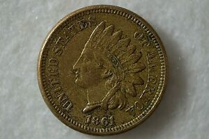 USA 1861 Indian Head Headdress One Cent 1c Coin Abraham Lincoln Copper-Nickel