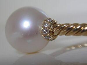 DAVID YURMAN 18/K GOLD PEARL DIAMOND RING RING