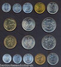 CZECHOSLOVAKIA FULL COIN SET 1+5+10+20+50 Haleru 1+2+5 Korun 1962-90 UNC LOTof 8