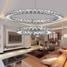 Modern Crystal Chandeliers LED Ring Light Adjustable Pendant Ceiling Lamp Decor