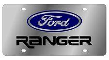 New Ford Ranger Blue Logo Stainless Steel License Plate