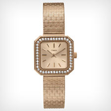 NEW-TIMEX ROSE GOLD TONE,MESH BAND,CRYSTAL BEZEL,SQUARE SMALL DIAL WATCH-T2P551