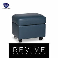 Stressless Leder Hocker Blau Petrol Schemel #9647