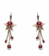 Alexander McQueen Star and Skull Earrings with Blood Red Swarovski Crystals