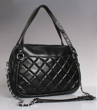 Black (Quilted) Italian Leather Handbags, Purse Hobo Bag, Satchel