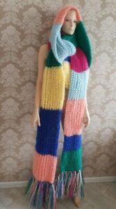 Premium Mohair EXTRA LONG SCARF 4.5 m hand knit multicolor  Men Women