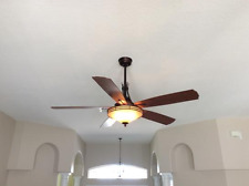 "60"" Large Mission Tower Ceiling Fan + Remote Bronze Fixture Art Deco Bowl Light"