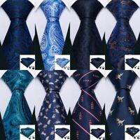 Men's Navy Blue Tie Hanky Necktie Handkerchief cufflinks Tie Set Formal USA