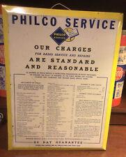 vintage metal sign Philco service radio repair rates