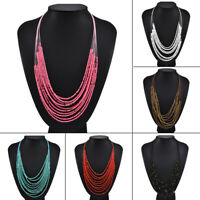 Boho Women Seed Beads Necklace Long Multi Layer Chain Bib Statement Jewelry S8