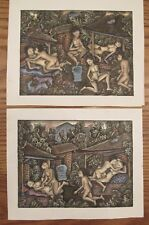 2 vintage Balinese detailed paintings risqué scenes